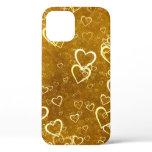 Golden Love Heart Shape iPhone 12 Case