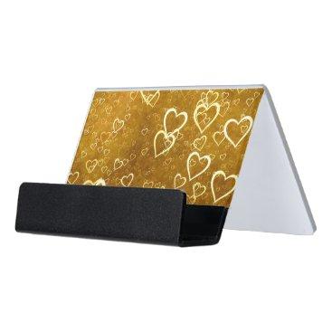 Golden Love Heart Shape Desk Business Card Holder