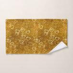 Golden Love Heart Shape Hand Towel