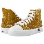 Golden Love Heart Shape High-Top Sneakers