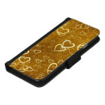 Golden Love Heart Shape iPhone 8/7 Wallet Case