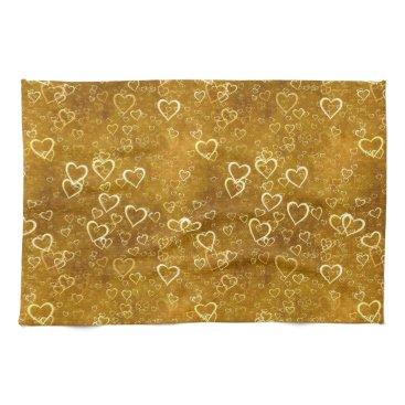 Golden Love Heart Shape Kitchen Towel