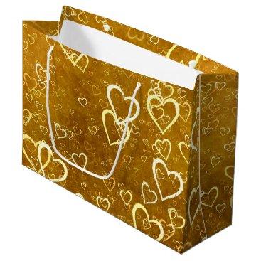 Golden Love Heart Shape Large Gift Bag