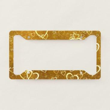 Golden Love Heart Shape License Plate Frame