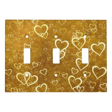 Golden Love Heart Shape Light Switch Cover