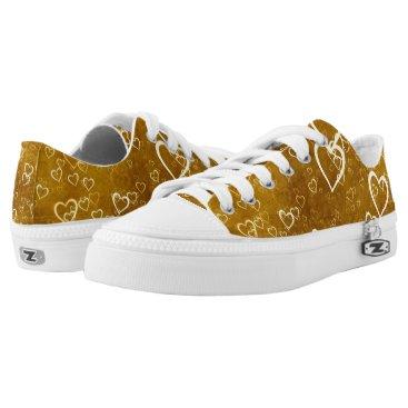 Golden Love Heart Shape Low-Top Sneakers