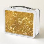 Golden Love Heart Shape Metal Lunch Box