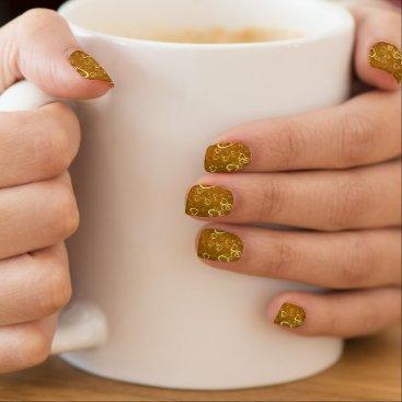 Golden Love Heart Shape Minx Nail Art
