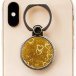 Golden Love Heart Shape Phone Ring Stand