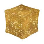 Golden Love Heart Shape Pouf