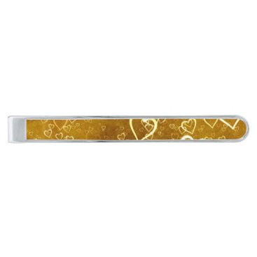 Golden Love Heart Shape Silver Finish Tie Bar