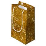 Golden Love Heart Shape Small Gift Bag