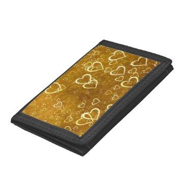 Golden Love Heart Shape Trifold Wallet