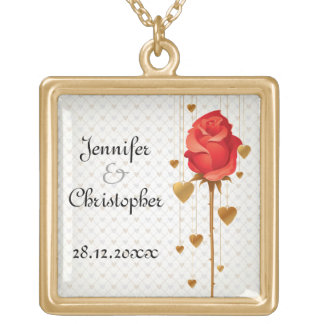 Golden Love Hearts and Red Wedding Square Pendant Necklace
