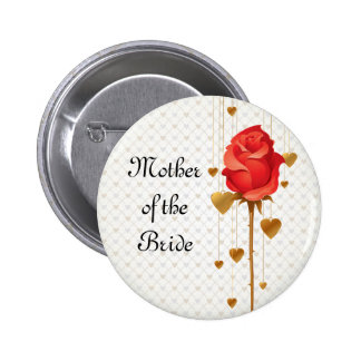 Golden Love Hearts and Rose Mother of the Bride Pinback Buttons