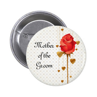Golden Love Hearts and Rose Mother of the Groom Button