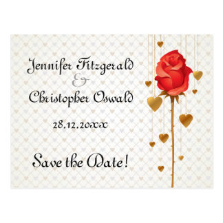 Golden Love Hearts and Rose Save the Date Postcard