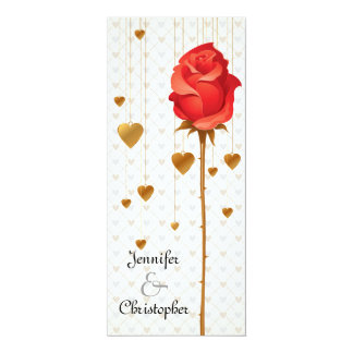 """Golden Love Hearts and Rose Wedding 4"""" X 9.25"""" Invitation Card"""