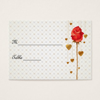 Golden Love Hearts and Rose Wedding Place Cards