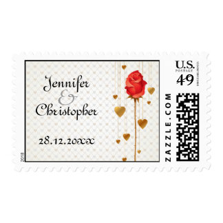 Golden Love Hearts and Rose Wedding Postage Stamps