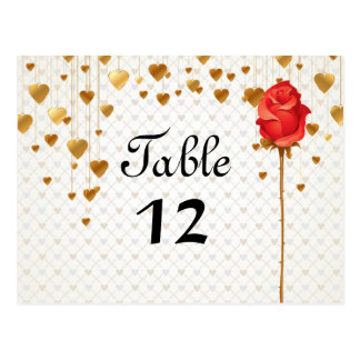 Golden Love Hearts and Rose Wedding Table Numbers Postcards
