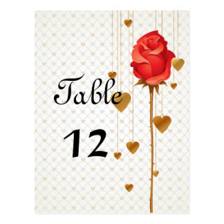 Golden Love Hearts and Rose Wedding Table Numbers Post Card