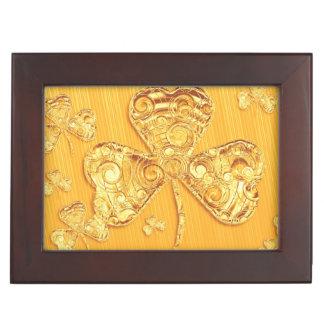 Golden Lucky Clover Keepsake Box