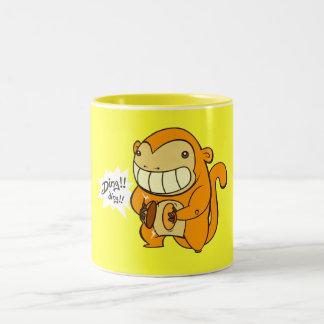 Golden Lucky Monkey Two-Tone Coffee Mug