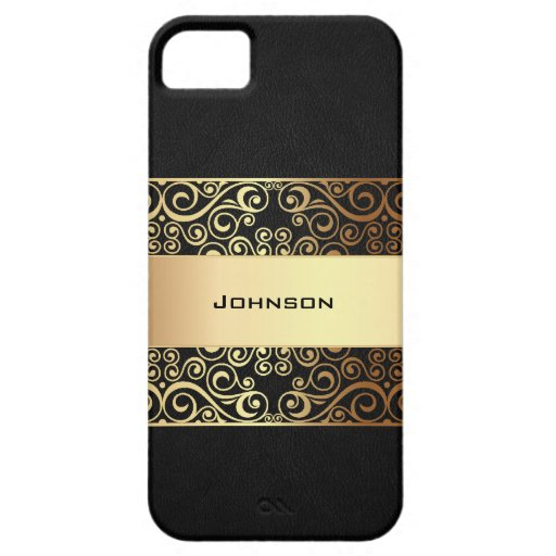 Golden Luxury with Black Leather Texture | iPhone 5 Cover