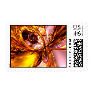Golden Maelstrom Abstract Stamp