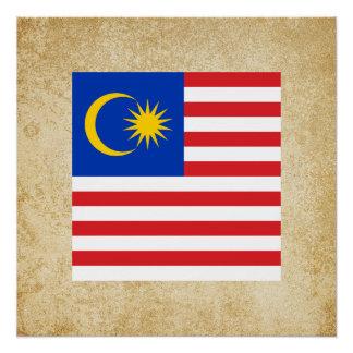 Golden Malaysia Flag Poster