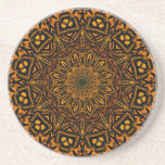Golden Mandala Beverage Coasters