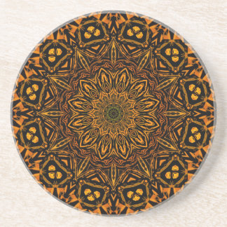 Golden Mandala Drink Coaster