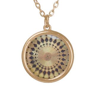 Golden Mandala Round Pendant Necklace