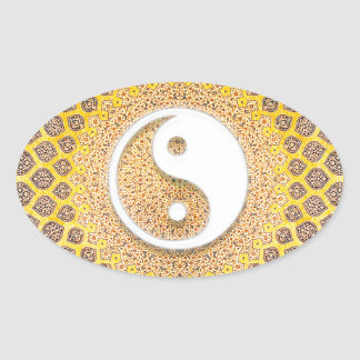 Golden Mandala Oval Sticker
