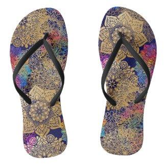 Golden Mandala Patterned Flip Flops