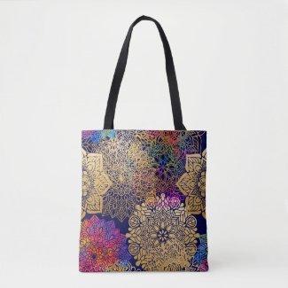 Golden Mandala Patterned Tote Bag