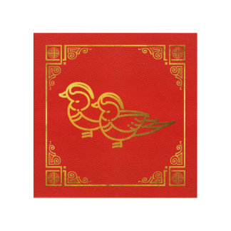 Golden Mandarin Ducks Feng Shui Symbol Wood Wall Art
