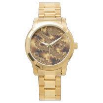 Golden mandelbrot fractal «abstract leaves» wristwatch