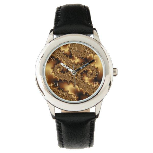 Golden mandelbrot fractal «abstract leaves» wristwatch