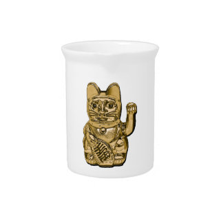 Golden Maneki Neko Beverage Pitcher
