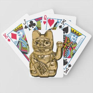 Golden Maneki Neko Bicycle Playing Cards