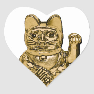 Golden Maneki Neko Heart Sticker