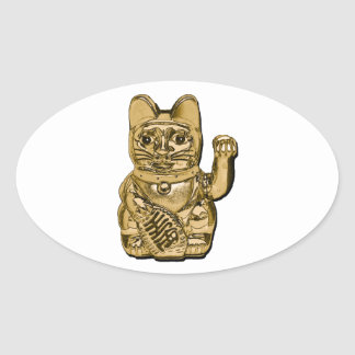 Golden Maneki Neko Oval Sticker