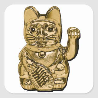 Golden Maneki Neko Square Sticker