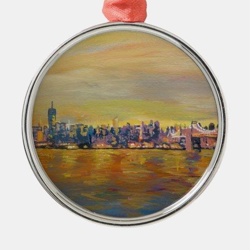 Golden Manhattan Skyline With One World Trade Cent Ornaments