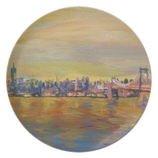 Golden Manhattan Skyline With One World Trade Cent Plate