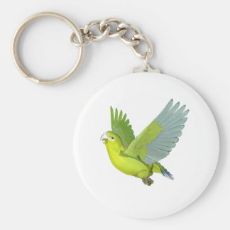Golden-Mantled Racket Tailed Parrot Basic Round Button Keychain