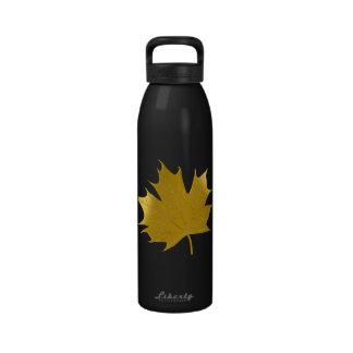 Golden maple leaf water bottles