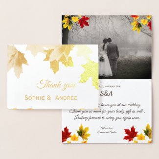 Golden  maple leaves - add wedding photo foil card
